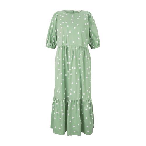 TOM TAILOR DENIM Damen gepunktetes Midi Kleid, grün, Gr.XL