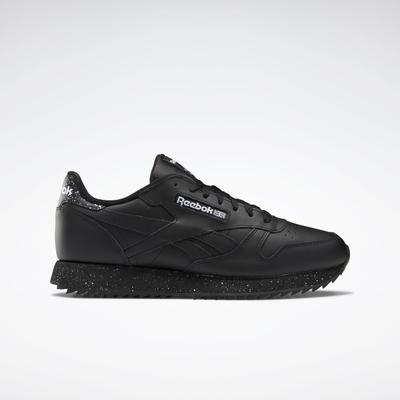 Reebok Unisex Classic Leather Ripple Shoes in Core Black/Core Black/Ftwr White Size M 6.5 / W 8 - Lifestyle Shoes