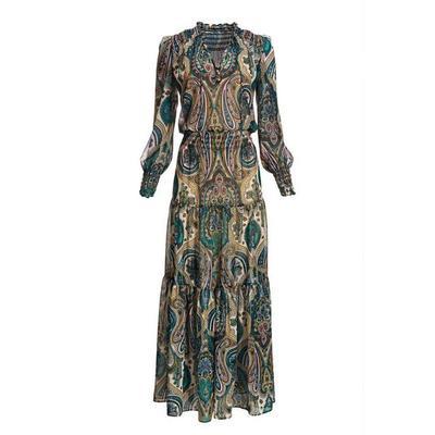 Boston Proper - Paisley Boho Maxi Dress - Neutral Multi - X Small