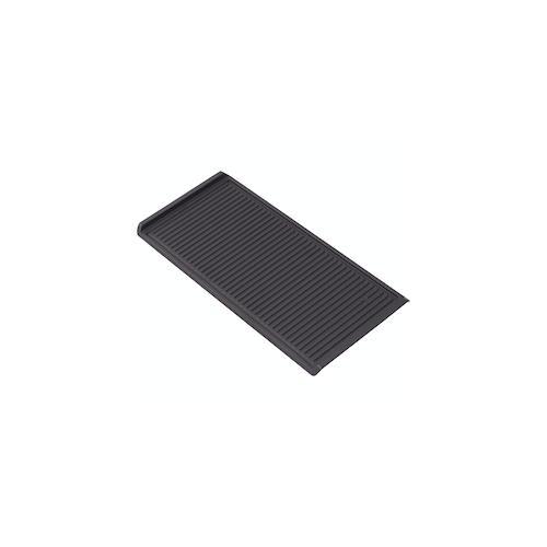 Simfer Gusseisen-Grillplatte | 47 x 23 cm | für 60 cm Gaskochfelder, Kohlegrill, Elektrogrill | gerippt | Topfträger-Klammern | Grillzubehör | Schwarz