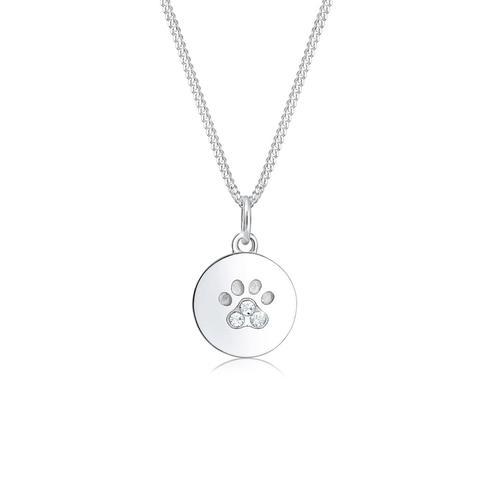 Halskette Pfote Hund Katze Tatze Kristalle 925 Silber Elli Silber