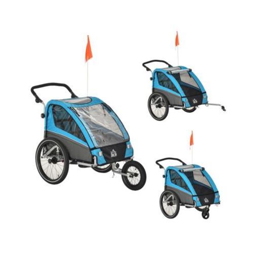 3in1 Kinderwagen auch als Jogger und Fahrradanhänger blau