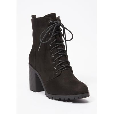 Rue21 Womens Black Faux Suede Lace Up Stack Heel Hiker Bootie - Size 7