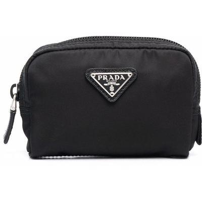 Logo Plaque Cosmetics Case - Black - Prada Clutches