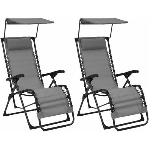 Klappbare Liegestühle 2 Stk. Textilene Grau
