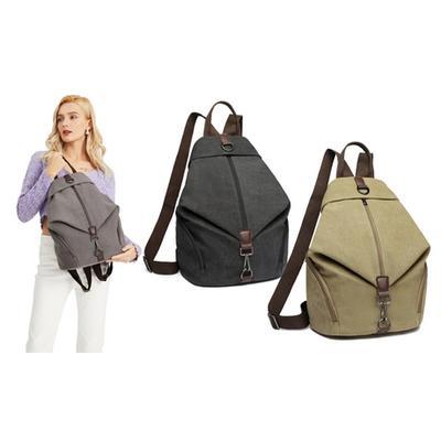 Kono Fashion Anti-Theft Canvas Backpack: Grey