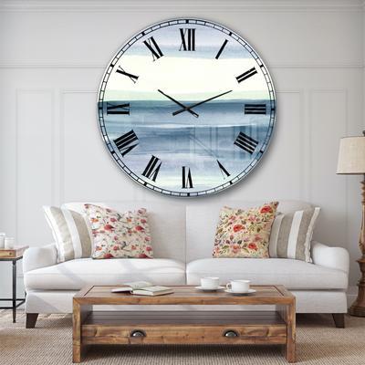 Mint Indigo Dawn I Farmhouse Wall Clock by Designart in Blue