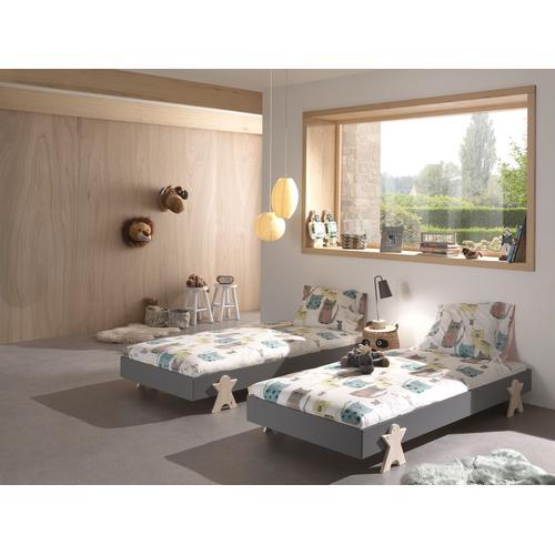 Vipack Einzelbett Modulo, Stapelbett mit Füßen in Smileoptik grau Kinder Kinderbetten Kindermöbel