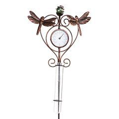 Evergreen Garden Stakes - Dragonfly Thermometer & Rain Gauge Garden Stake