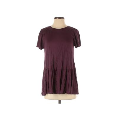 Truly Madly Deeply Short Sleeve Blouse: Burgundy Solid Tops - Size Small