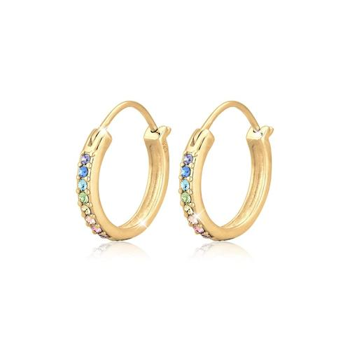 Ohrringe Creole Regenbogen Kristalle 925 Silber Elli Gold