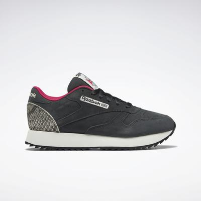 Reebok Women's Classic Leather Ripple Shoes in Cold Grey 7/Chalk/Pursuit Pink Size 9 - Lifestyle Shoes