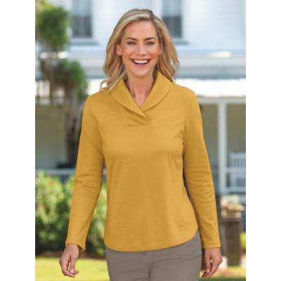 Women's Shawl Collar Top, Fields Of Gold S Misses