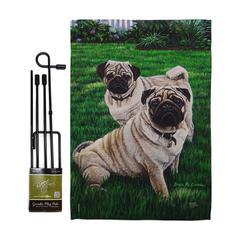 Breeze Decor Garden Flags Multi-Color - Cream & Green Pugs Love Outdoor Flag Set