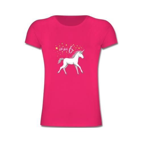 Kindergeburtstag Geburtstag Geschenk 6. Geburtstag Einhorn T-Shirts Kinder fuchsia Kinder