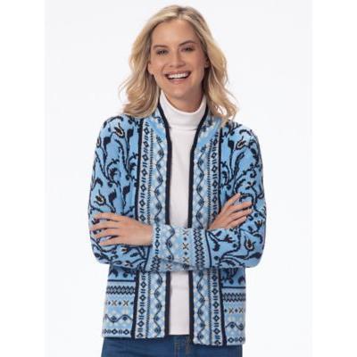 Women's Northern Lights Cardigan Sweater, Soft Blue Red P-XL