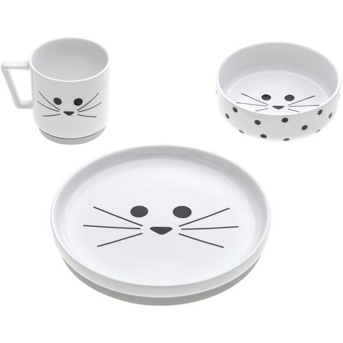 LÄSSIG Kindergeschirr-Set Little Chums, Cat, (Set, 3 tlg.), rutschfest weiß Baby Kindergeschirr Geschirr, Porzellan Tischaccessoires Haushaltswaren