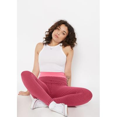 Rue21 Womens Pink Ruched Back Mesh Honeycomb Leggings - Size S