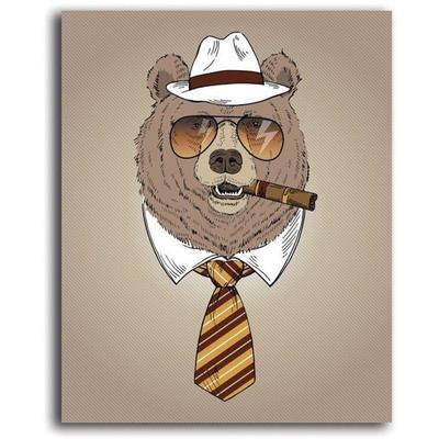 Tableau enfant bear with cigar m...