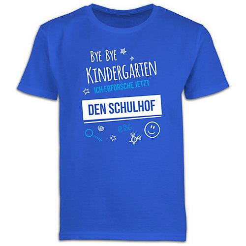 Schulkind Einschulung und Schulanfang Geschenke Bye Bye Kindergarten Einschulung Schulhof T-Shirts Kinder blau Kinder