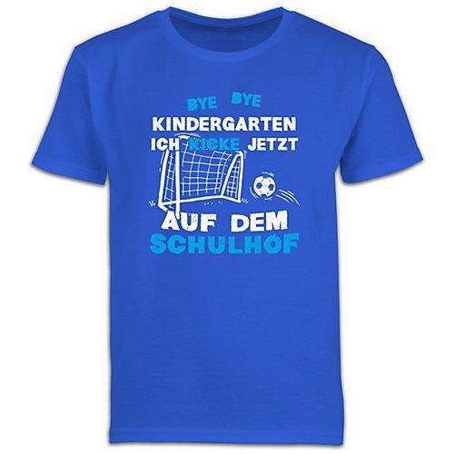 Schulkind Einschulung und Schulanfang Geschenke Bye Bye Kindergarten Einschulung Fußball Blau T-Shirts Kinder blau Kinder