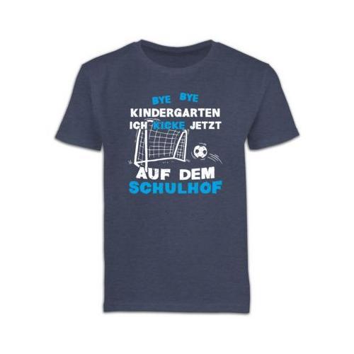 Schulkind Einschulung und Schulanfang Geschenke Bye Bye Kindergarten Einschulung Fußball Blau T-Shirts Kinder dunkelblau Kinder