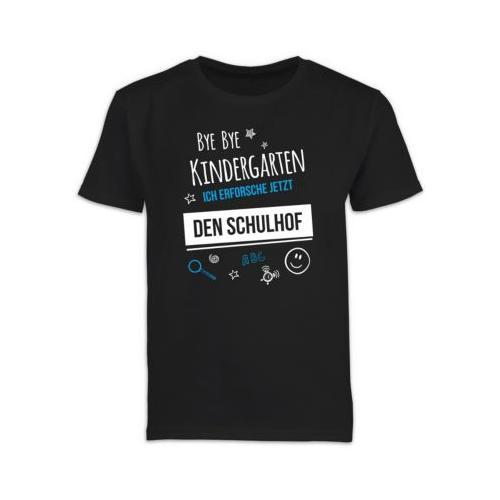 Schulkind Einschulung und Schulanfang Geschenke Bye Bye Kindergarten Einschulung Schulhof T-Shirts Kinder schwarz Kinder