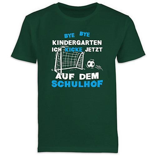 Schulkind Einschulung und Schulanfang Geschenke Bye Bye Kindergarten Einschulung Fußball Blau T-Shirts Kinder dunkelgrün Kinder