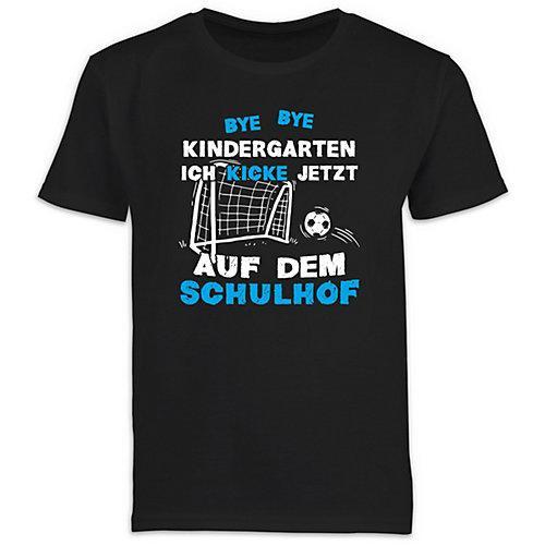Schulkind Einschulung und Schulanfang Geschenke Bye Bye Kindergarten Einschulung Fußball Blau T-Shirts Kinder schwarz Erwachsene