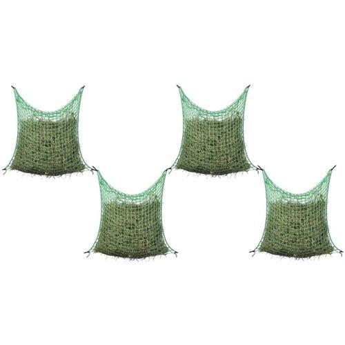 Heunetze 4 Stk. Quadratisch 0,9x1 m PP - Grün