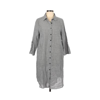 Mlle Gabrielle Casual Dress - Shirtdress: Gray Solid Dresses - Used - Size 1X Plus