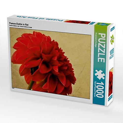 Pomon-Dahlie in Rot Foto-Puzzle Bild von Rosemarie Prediger Puzzle