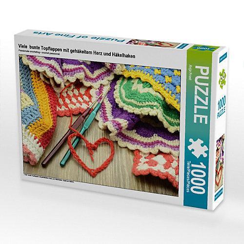 Viele bunte Topflappen mit gehäkeltem Herz und Häkelhaken Foto-Puzzle Bild von Anja Frost Puzzle