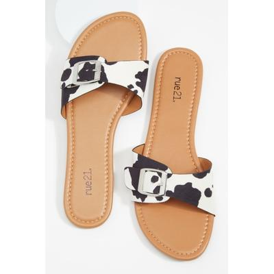 Rue21 Womens Cow Print Single Buckled Band Slide Sandals - Size 10