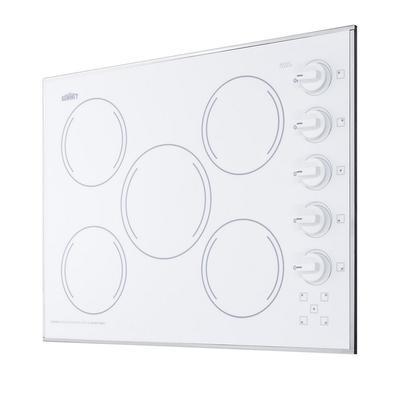 """""""27"""""""" Wide 230V 5-Burner Radiant Cooktop - Summit Appliance CR5B274W"""""""