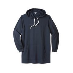 Men's Big & Tall Fleece longer-length pullover hoodie by KingSize in Navy (Size 4XL)