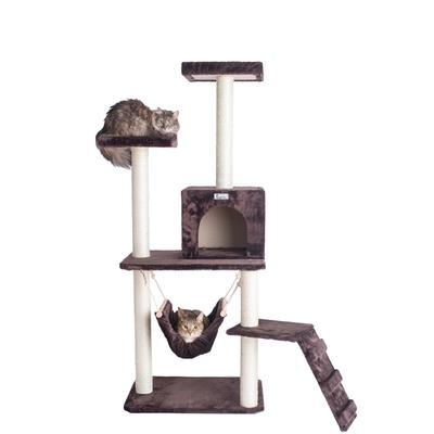 57-Inch Cat Pet Tree In Coffee Brown With Four Levels, Ramp, Hammock And Condo by Armarkat in Coffee Brown
