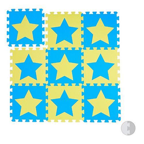 9 x Puzzlematte Sterne Spielmatte Kinder Krabbelmatte Kinderspielmatte Play Mat gelb-kombi