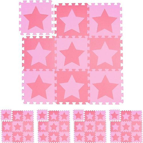 45 x Puzzlematte Sterne, Bodenmatte, Spielunterlage Baby, Krabbelmatte rosa-pink
