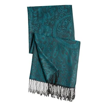 Haband Women's Patterned Wrap Scarf, Winter Teal, -