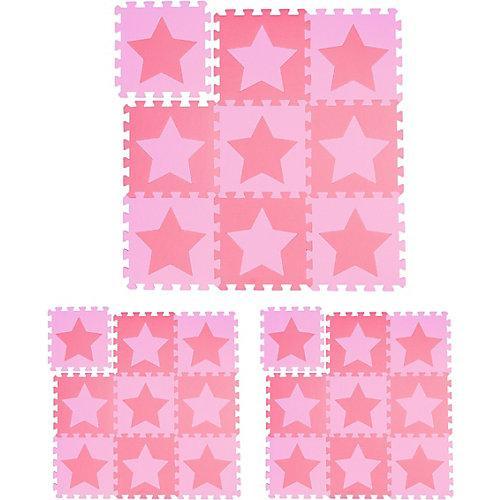 27 x Puzzlematte Sterne Spielteppich Bodenpuzzle Krabbelmatte Spielmatte rosa pink