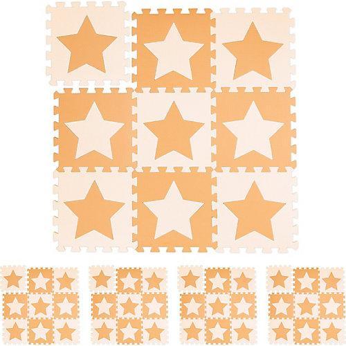 45 x Puzzlematte Sterne Bodenmatte Spielunterlage orange Baby Krabbelmatte