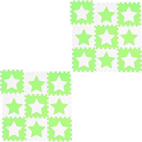 18 x Puzzlematte Sterne Krabbelunterlage Kinderspielmatte Krabbelmatte weiß-grün weiß-kombi