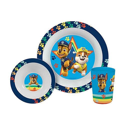 Paw Patrol Frühstücksset Jungen 3-teilig Kindergeschirrsets blau