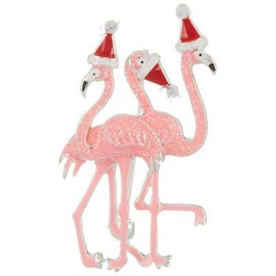 Brighten the Season Triple Flamingo Holiday Party Pin