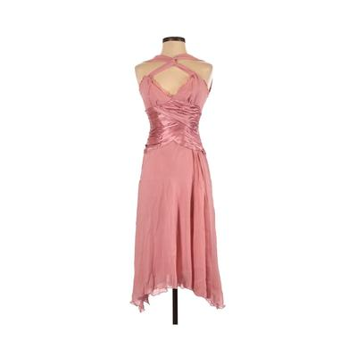 Papell Boutique Evening Cocktail Dress - Midi: Pink Solid Dresses - Used - Size 4 Petite