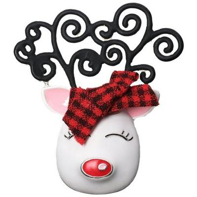 Brighten the Season Girly Reindeer With Plaid Bow Pin