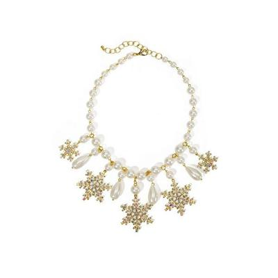 Boston Proper - Pearl And Snowflake Necklace - Gold - One Size