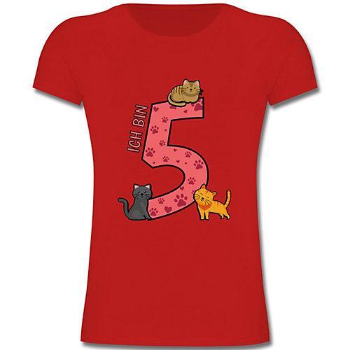 Kindergeburtstag Geburtstag Geschenk 5. Geburtstag Katzen T-Shirts Kinder rot Kinder