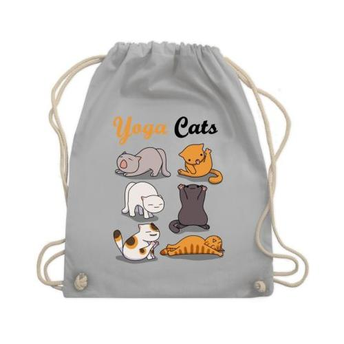 Sprüche Statement mit Spruch Yoga Cats Turnbeutel Jungen hellgrau Kinder